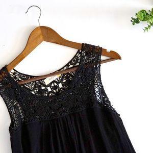Altar'd State black sleeveless maxi dress crochet